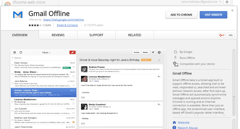 Gmail Offline extension for Chrome