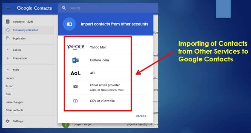 Importing if Contacts from other services to Google Contacts