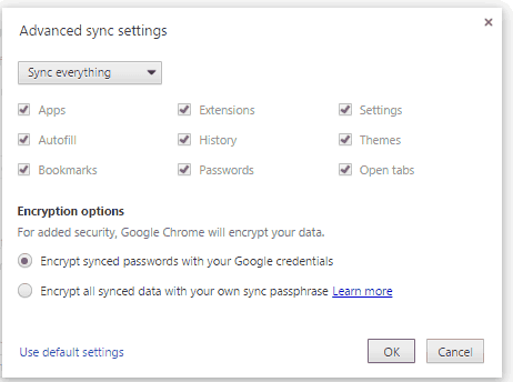 Google Chrome Advance Sync Setting