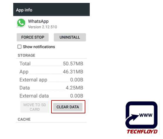 Clear Data Whatsapp