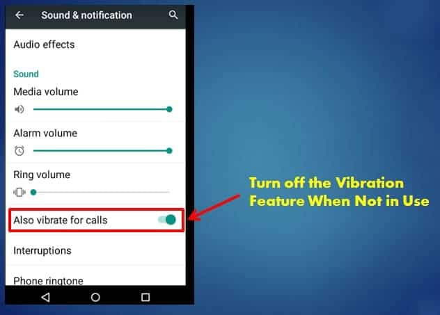 Turn Off Vibration Feature