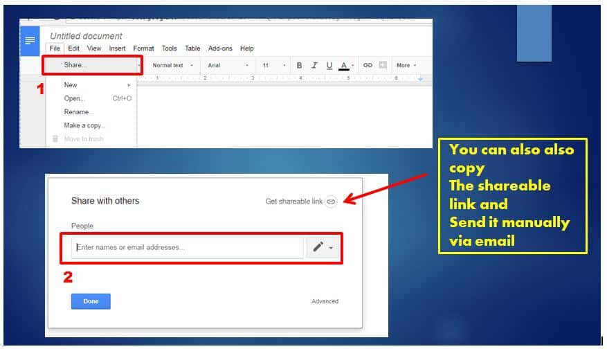 how to add a google doc to an email